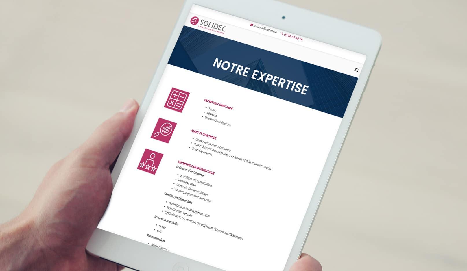 Création : logo – site web pour SOLIDEC – Agence Linéal