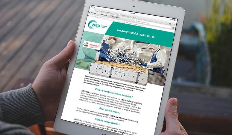DELTA NEU : Conception du site en plusieurs langues avec objectifs de leads - Agence Linéal