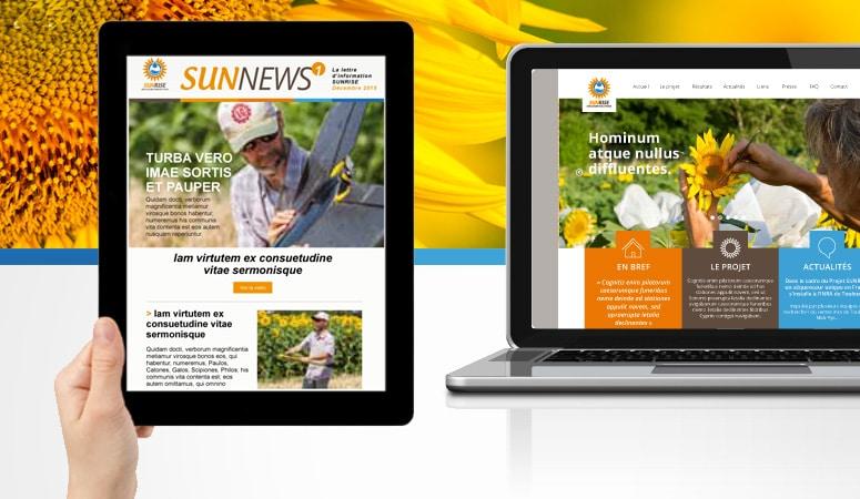 INRA - SUNRISE : Conception du concept de communication du salon et déploiement sur tous les supports de promotion et d'information - Agence Linéal