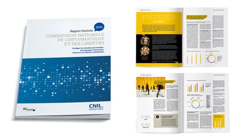 CNIL : Refonte du logo pour améliorer la lisibilité de la baseline et conserver une touche tricolore - Nouvelle ligne graphique pour les éditions - Agence Linéal