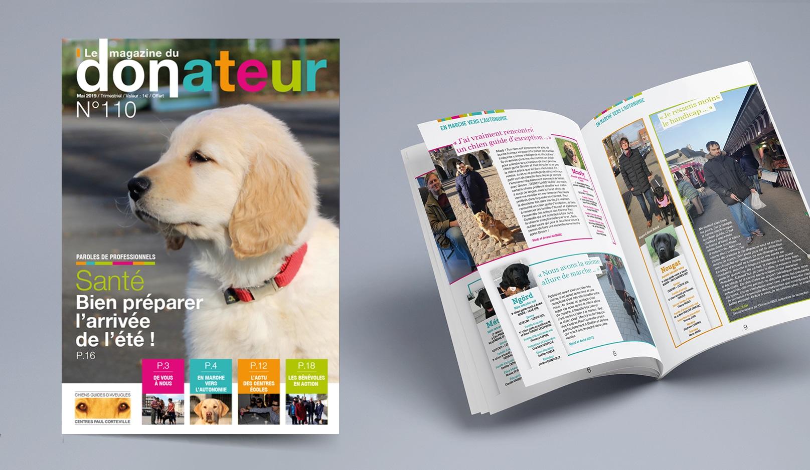 Création : Magazine pour les CHIENS GUIDES AVEUGLES – Agence Linéal