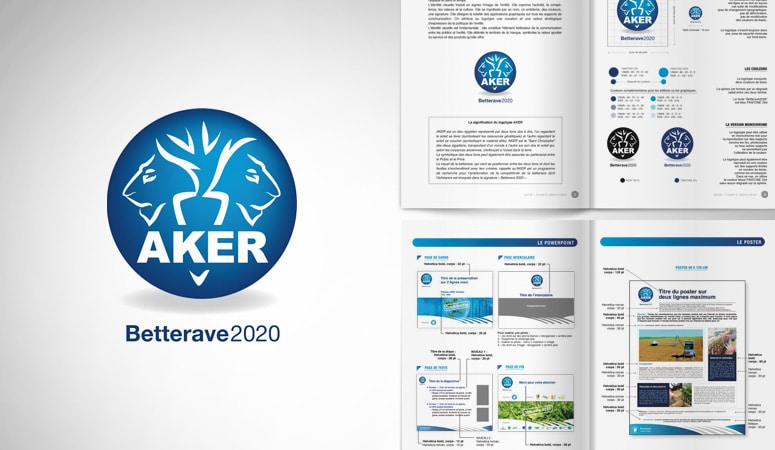 AKER BETTERAVE 2020 WEB : Le logo est articulé autour de la représentation du Dieu égyptien Aker,  symbole de la terre et du sous-sol - Les outils de présentation et de promotion ont été déclinés selon la nouvelle charte - Agence Linéal