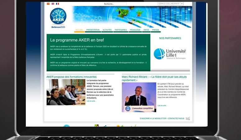 Création : site web – intranet pour AKER BETTERAVE 2020 WEB – Agence Linéal