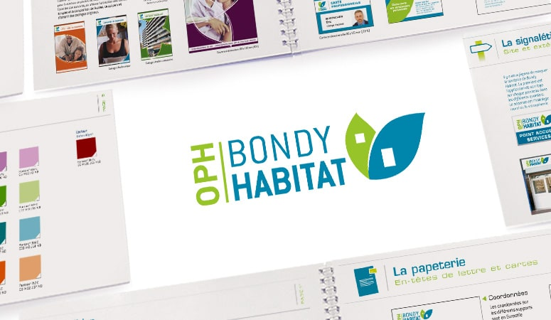 BONDY HABITAT : Création du nouveau logo avec pour contrainte la reprise des anciens symboles existants - Rajeunissement du magazine locataires par la mise en place de 2 publications avec parutions et contenus différenciés - Agence Linéal