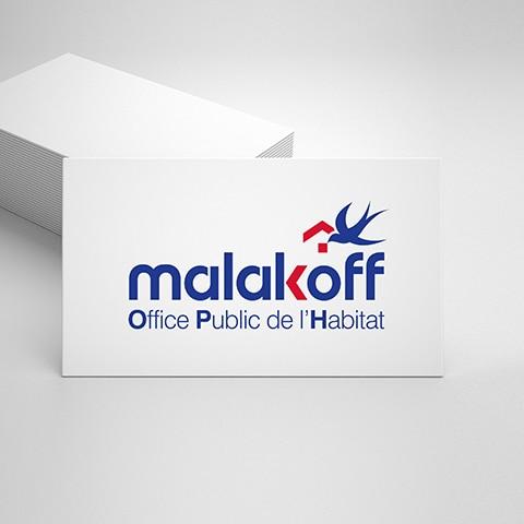 MALAKOFF HABITAT : Création du nouveau logo avec pour contrainte de reprendre l'hirondelle, symbole de la ville - Refonte graphique de la ligne de communication suite au changement d'image de Malakoff Habitat - Agence Linéal