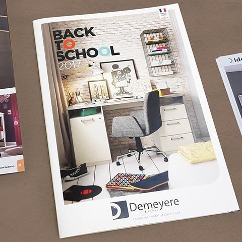 DEMEYERE : Réalisation du catalogue de mobilier enfant pour la rentrée scolaire - Agence Linéal