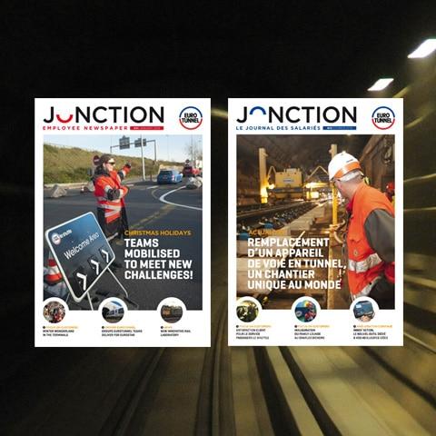 EUROTUNNEL : Le nom du journal interne a été imaginé pour être compréhensible en français et en anglais et la marque s'appuie sur la décomposition de l'emblème du logo d'Eurotunnel - Agence Linéal