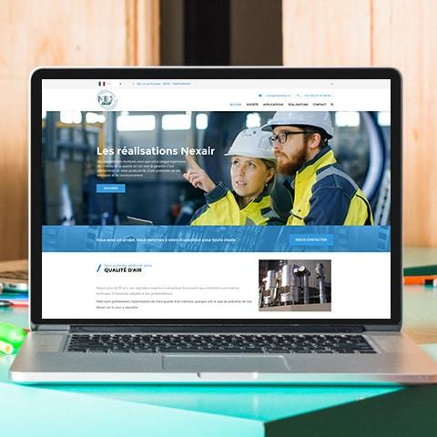 NEXAIR : Un site vitrine avec l'ensemble des réalisations aéroliques- Agence Linéal