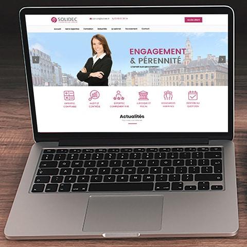 SOLIDEC : Le site web est un site vitrine avec des liens donnant accès aux plateformes sécurisées d'échanges de données - Agence Linéal